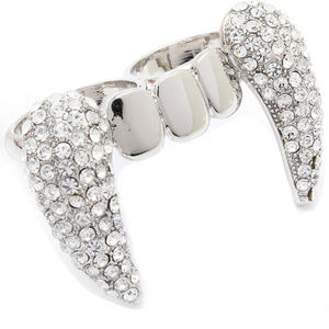 Jewelry - Crystal Vampire Teeth Two Finger Knuckle Ring